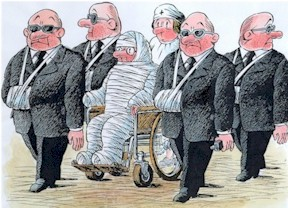 Ukraine cartoon, security guide for president