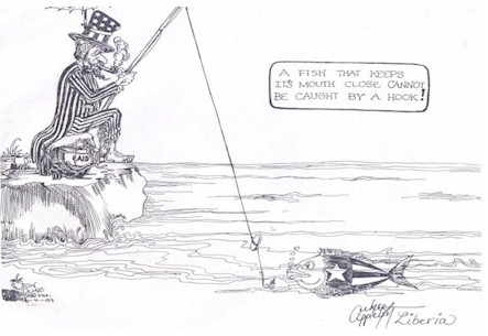 African cartoon, Uncle Sam fishing