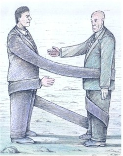 England cartoon, political shake hands