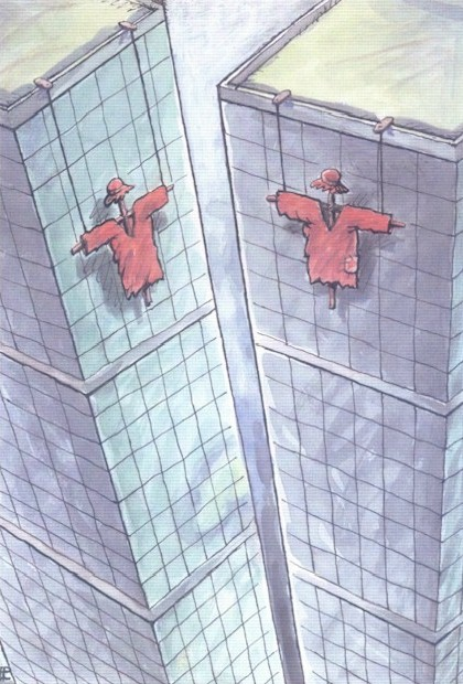 Romania cartoon, New York twin towers
