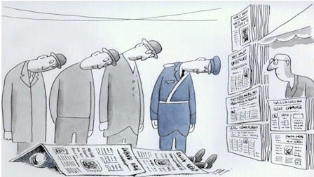 Romania cartoon, read newspaper